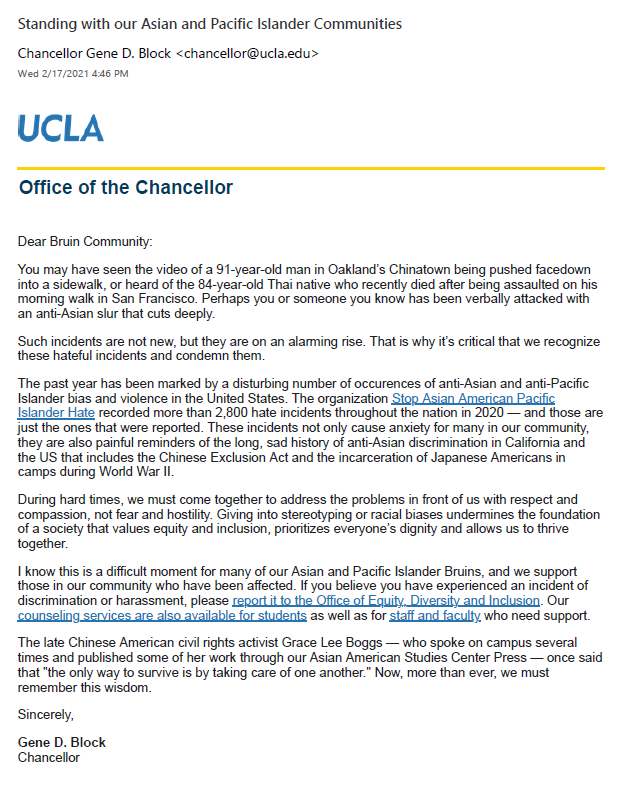 Standing with our Asian and Pacific Islander Communities_UCLA Chancellor Block