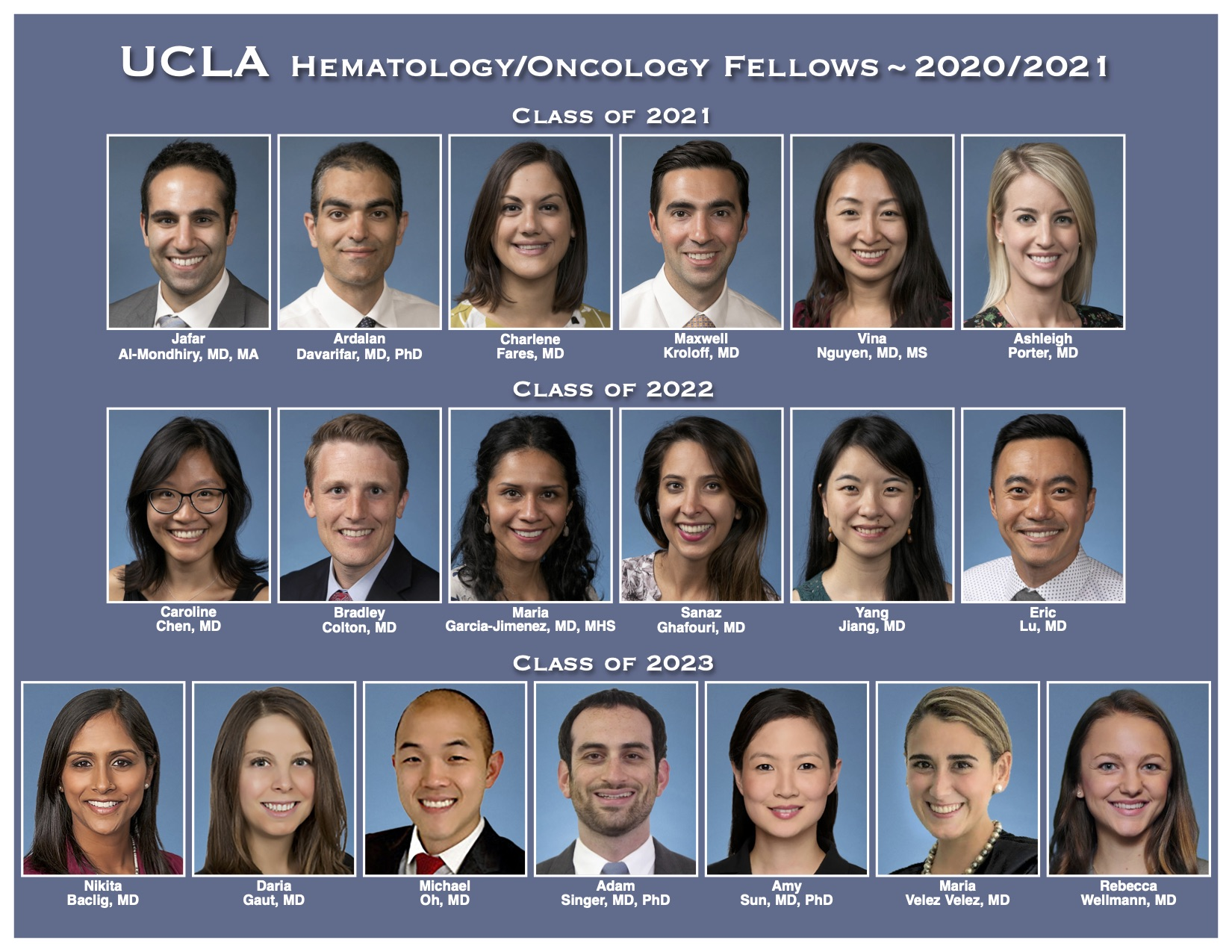 photo roster of current hemonc fellows